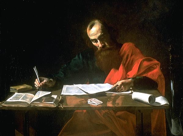 """Saint Paul Writing His Epistles"""" by Valentin de Boulogne"""