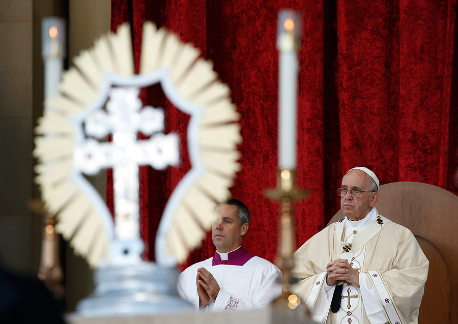 A reliquary containing relics of St. Junipero Serra is seen as Pope Francis celebrates his canonization and Mass outside the Basilica of the National Shrine of the Immaculate Conception.