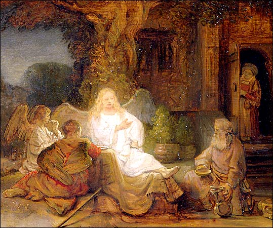 Abraham Serving the Three Angel by Rembrandt